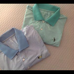 Two Vineyard Vines Stripe Golf Polo Shirts Sz XL